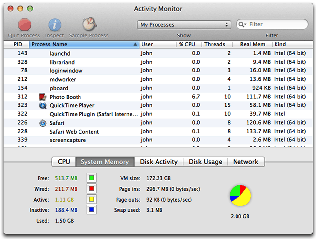 Old Activity Monitor interface