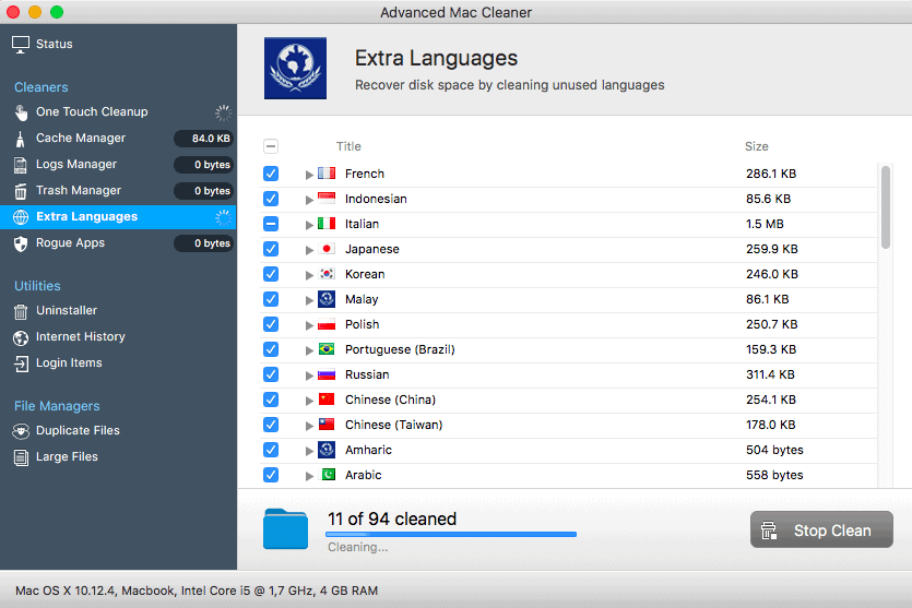 Extra Language Removal in Advanced Mac Cleaner