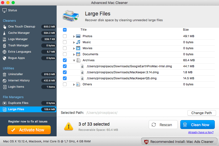 Deleting Large Files in Advanced Mac Cleaner