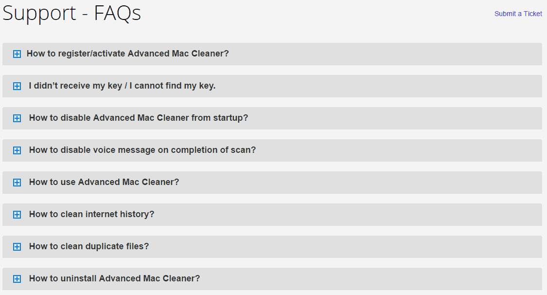 FAQ Support for Advanced Mac Cleaner Users