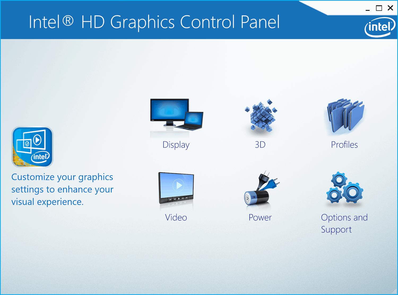 Panneau de configuration Intel Graphics