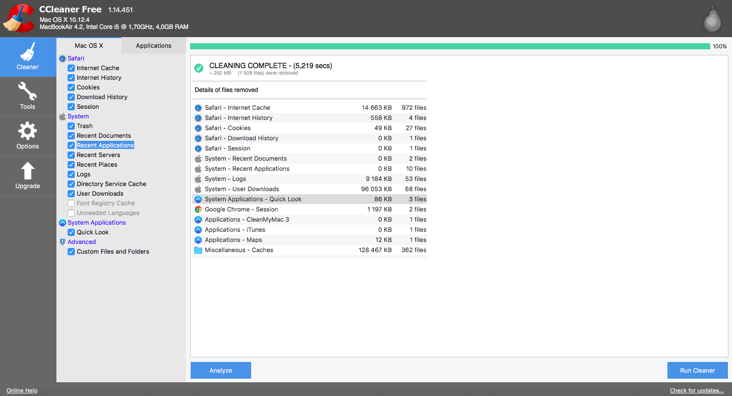 Cleaning in CCleaner