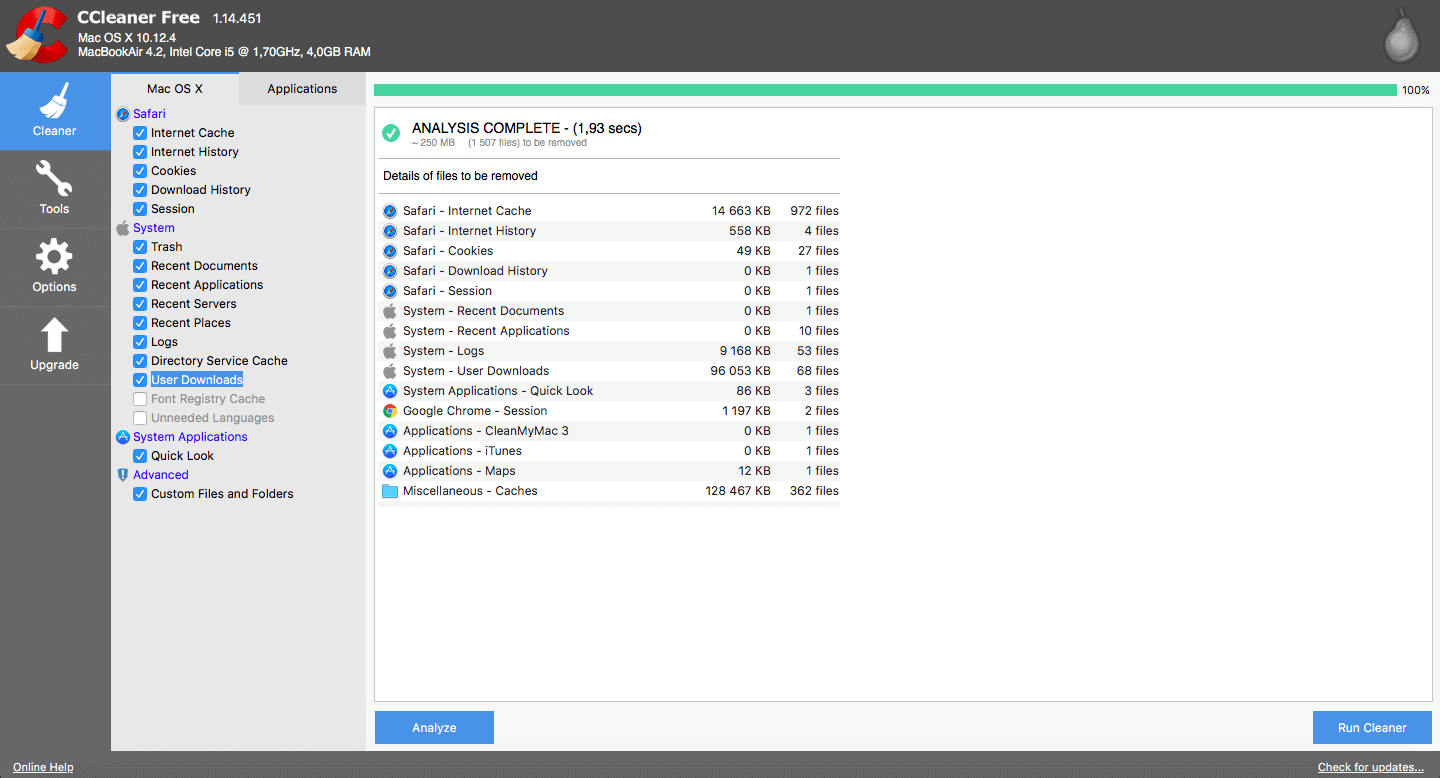 Scan Results in CCleaner