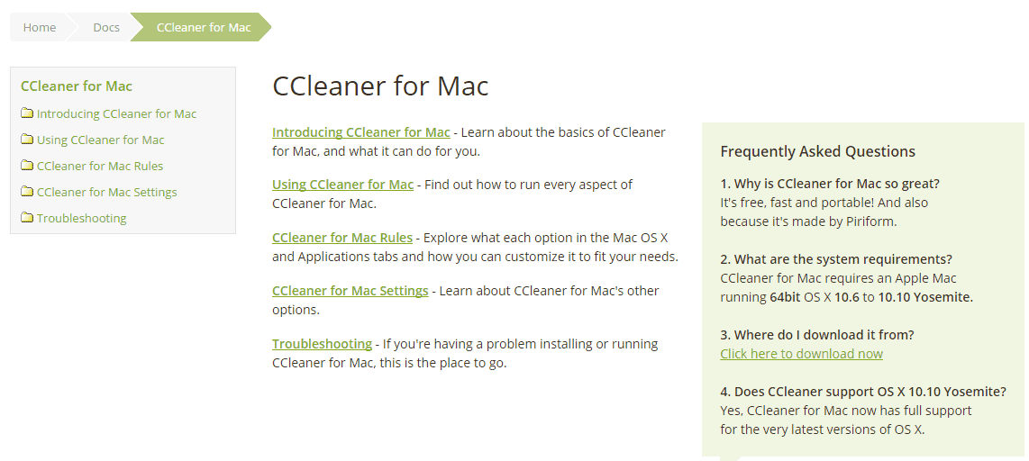 Technical Documents for CCleaner Users