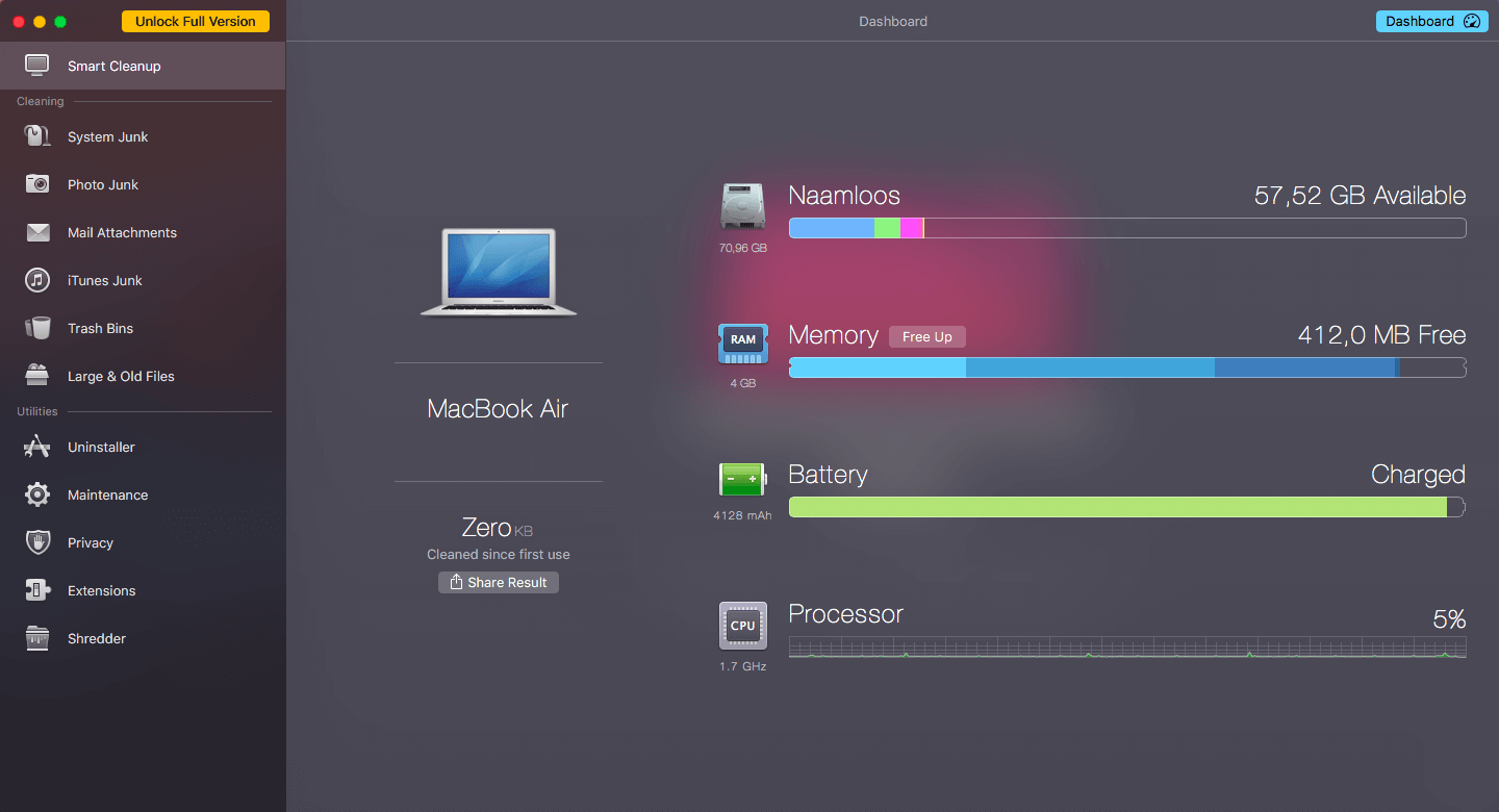 CleanMyMac's Dashboard