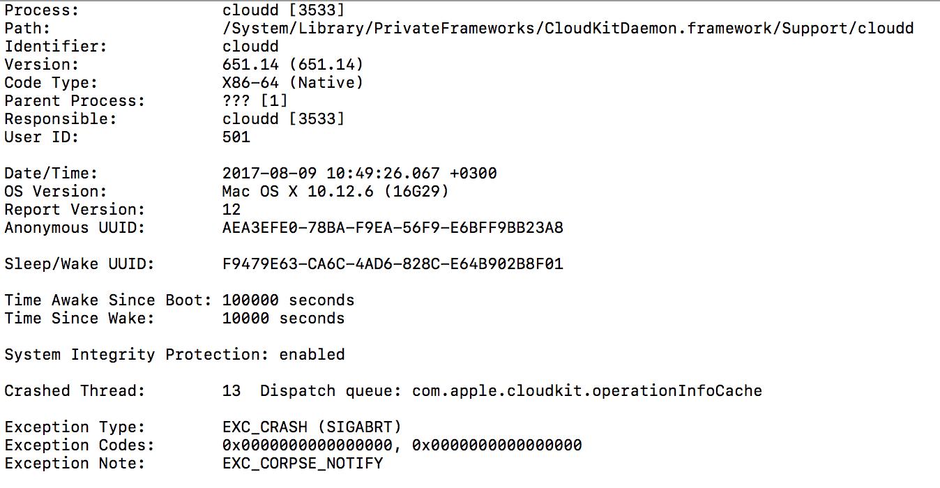 Crash log basic information