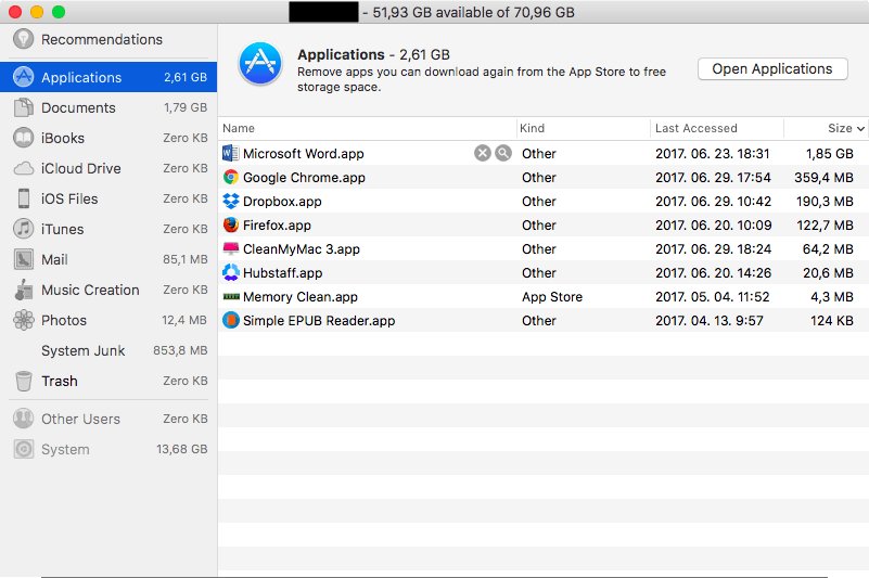 Deleting Large Files From the Apple Menu