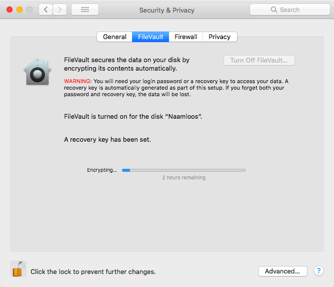 Encrypting Disk With FileVault