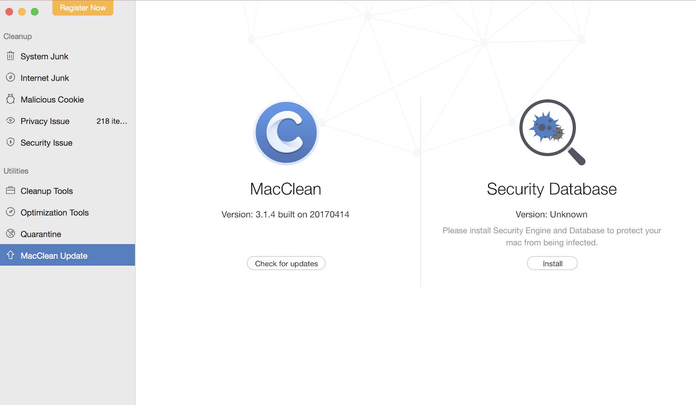 MacClean main screen