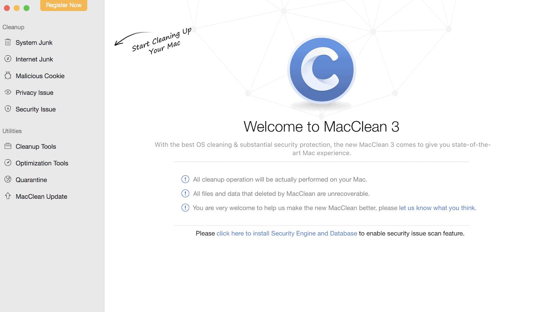 MacClean Welcome Screen
