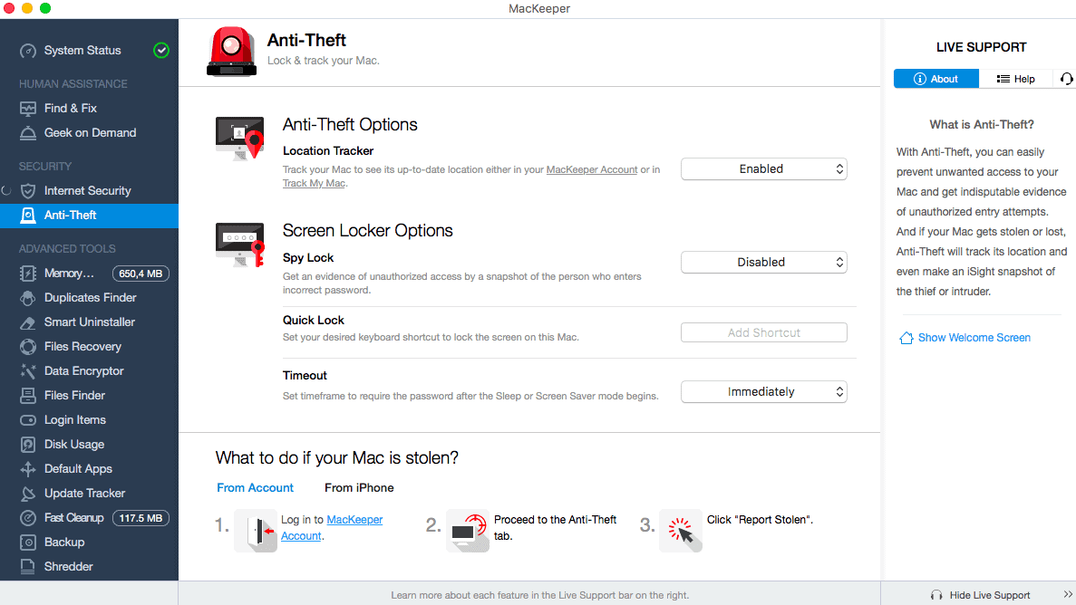 Anti-Theft Feature in MacKeeper