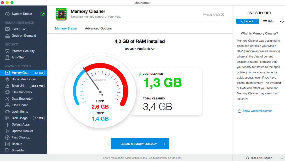 Memory Optimization in MacKeeper