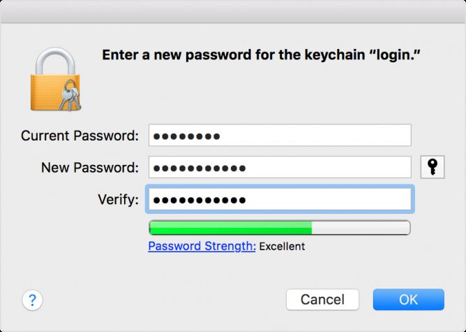 Keychain password change