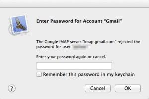 Mail password prompt