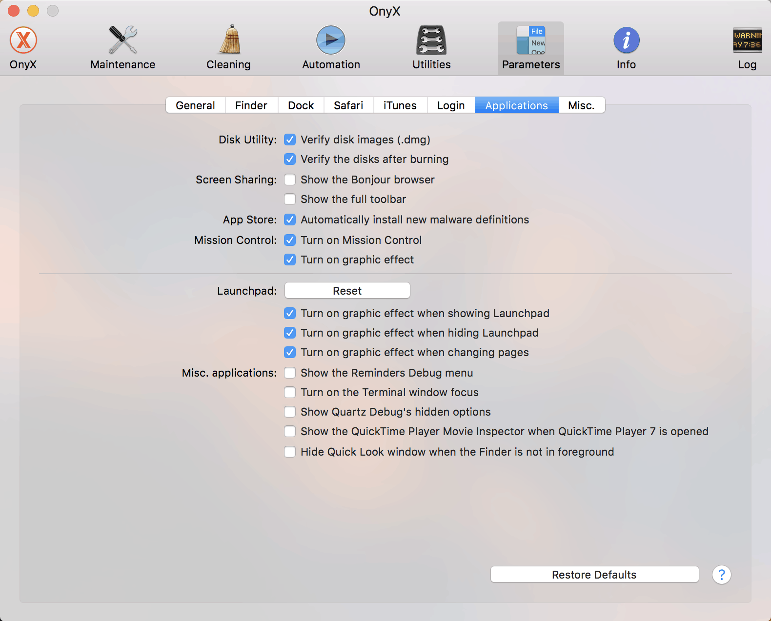 App Setting Preferences