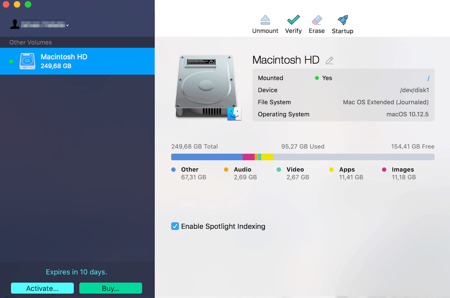 Paragon NTFS for Mac Main Screen