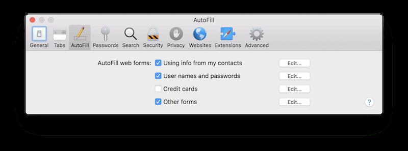 Safari AutoFill preferences